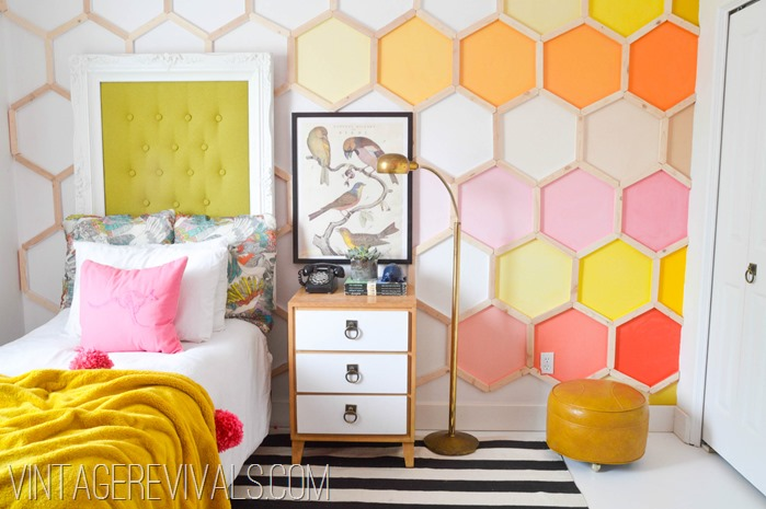 Dylan's Dream Room Makeover Hexagon Wall @ Vintage Revivals-2