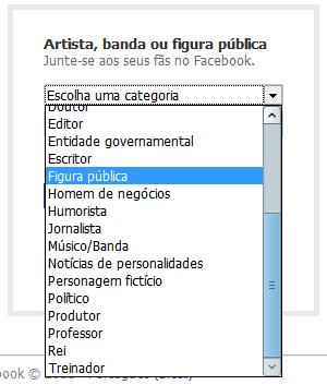 Categorias para página de gente