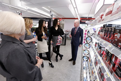 Tim Gunn and P&G North American Beauty Ambassador  Marsha Chilko tour the health and beauty aisles of Walgreens in NYC with fashion bloggers as they talk about the benefits of featured P&G products.