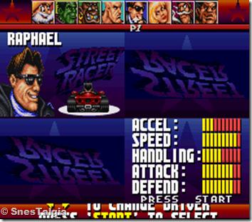 Raphael-street-racer-snes-screenshot-driver-selections