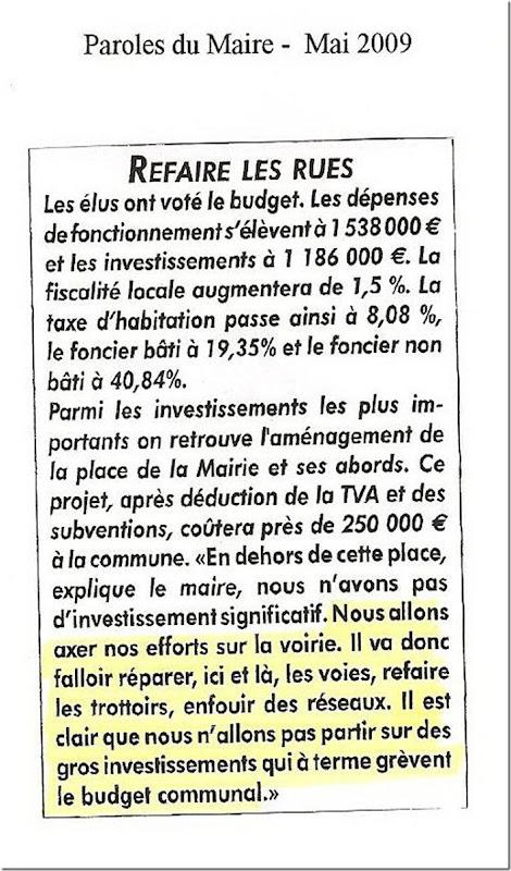 Paroles du Maire - Mai 2009