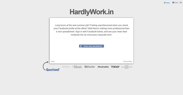 Selindung Facebook waktu bekerja dengan HardlyWork.In