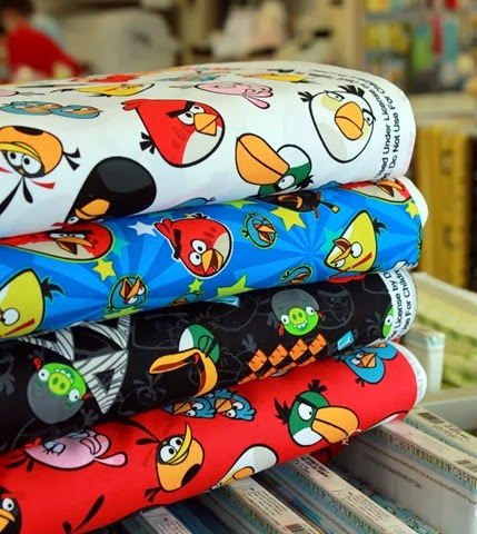 Angry Bird fabrics now at the Fabric Mill