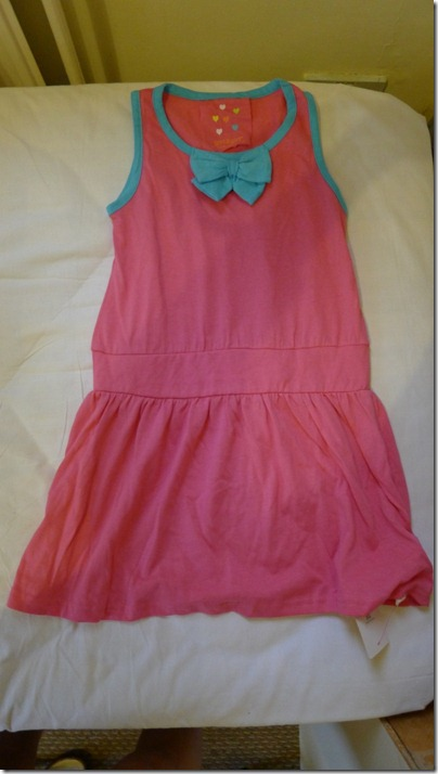 pink mini dress with blue bow