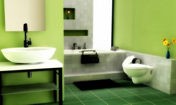 Baños Color Verde Oscuro:La pintura verde manzana utilizada en las paredes de este cuarto de
