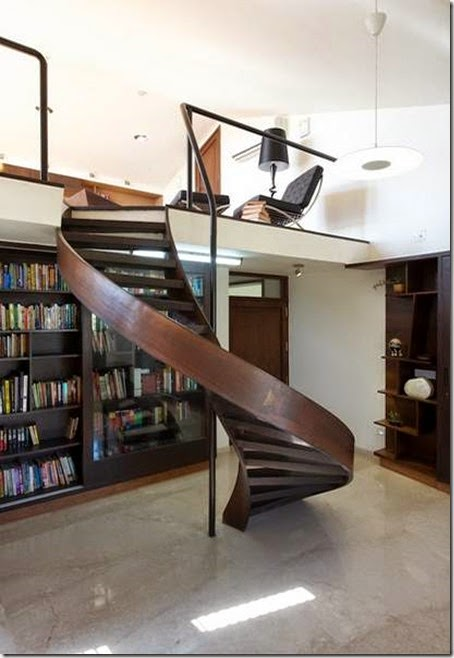 home-office-and-library-connected-with-marvellous-wood-spiral-staircase