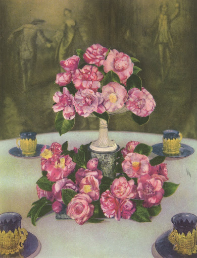 This gorgeous illustration showcases an adorable arrangement of camellias centering a luncheon table. The colors are absolutely stunning.