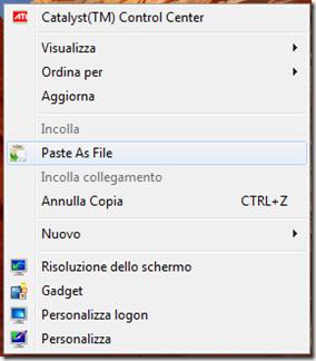 Paste As File voce nel menu del tasto destro del mouse