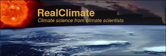Banner image from the RealClimate web site, realclimate.org. Climate science from climate scientists. Graphic: RealClimate