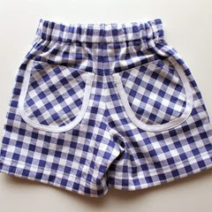 blue & white check shorts back