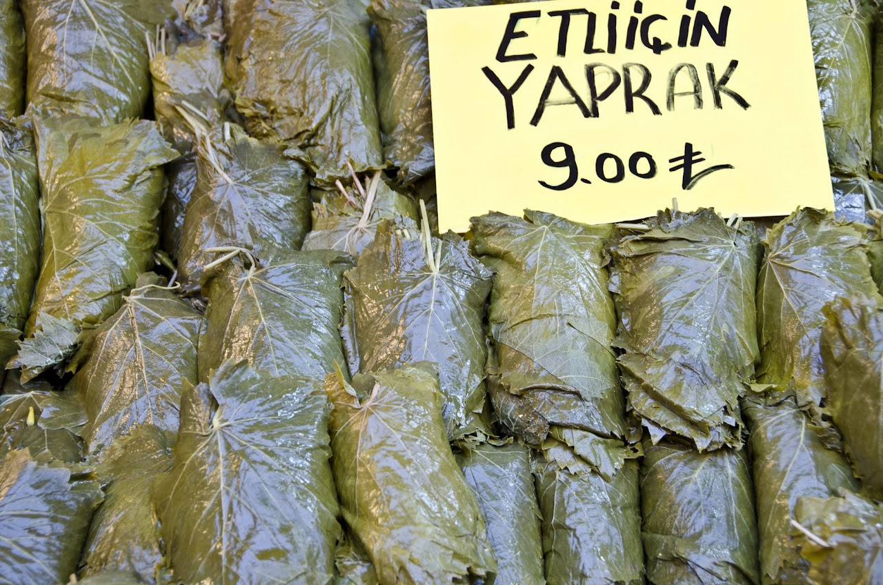 Grape leaves at Kadikoy market