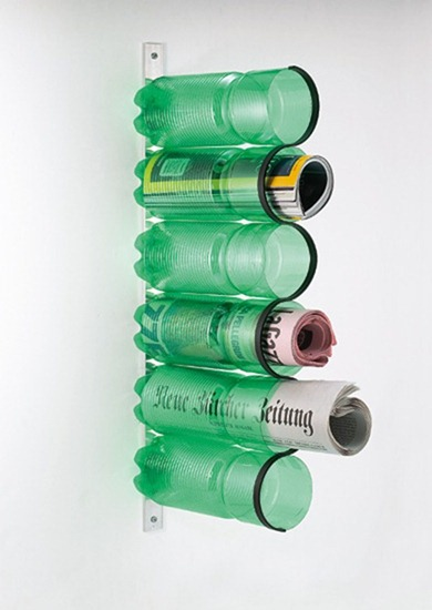 recycled plastic bottles magazine holder by ryter design