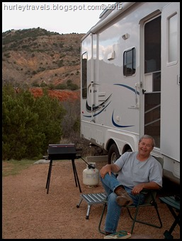 Jerry soaking up the sites, firing up the grill.