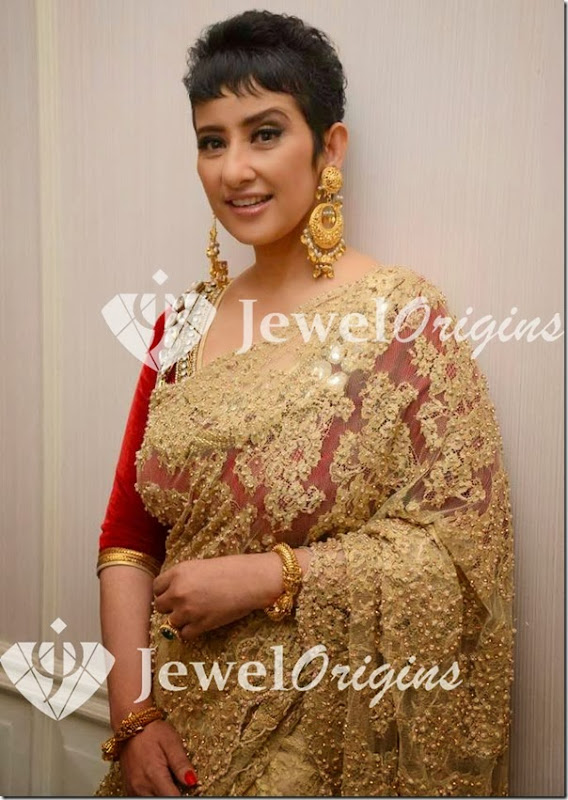 Manisha_Koirala_Gold_Earrings