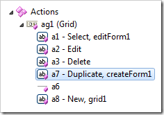 Action placed before the target in the list of actions.