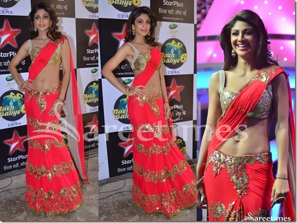 Shilpa_Shetty_Red_Embroidery_Saree