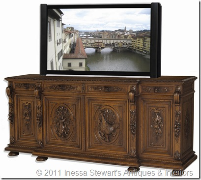Antique French Renaissance Buffet with TV