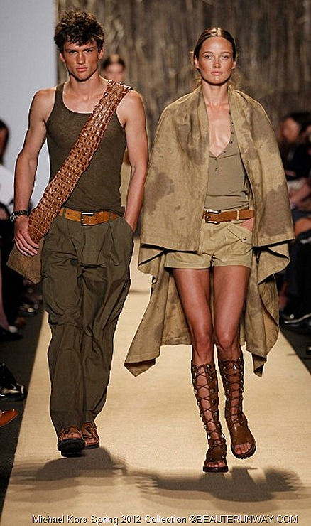 MICHAEL KORS 2012 SPRING COLLECTION  SAGE HAND DYED LINEN SERAPE, SAGE WASHED OLIVE TISSUE LINEN TANK, OLIVE POPLIN WIND PANT CINNAMON DISTRESSED LEATHER LEBOMBO TRAVELER