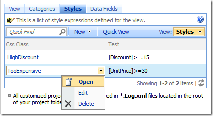 Open context menu option on Styles tab of Project Browser.
