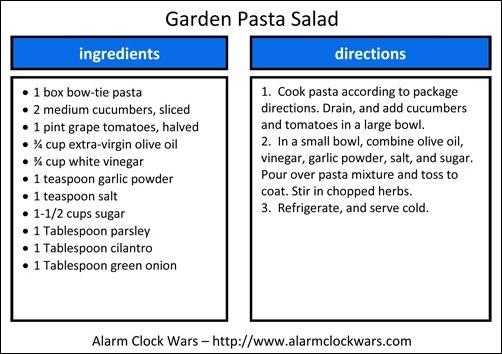 garden pasta salad recipe card
