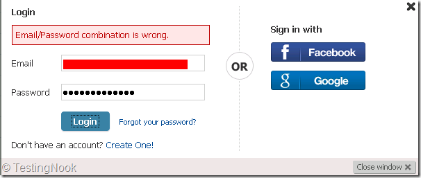 Error message when wrong password is entered.