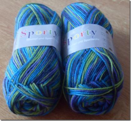 2012_01 Sockenwolle in grün- meliert