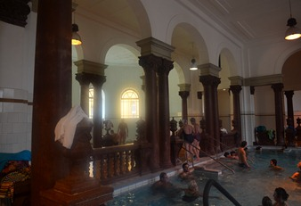inside pools  at the Szechenyi Baths