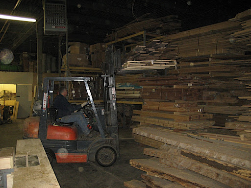 A fork lift is needed to move planks up and down.