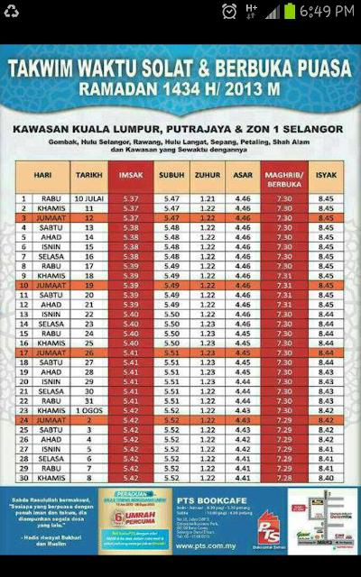 Takwim Waktu Solat & Berbuka Puasa Ramadhan 1434 H / 2013M Serta Niat