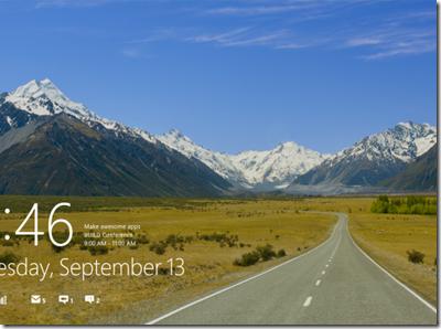 Windows 8 lockscreen metro style