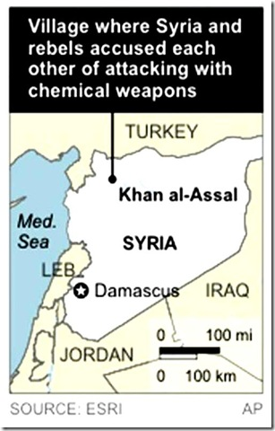 Map locates Khan al-Assal, Syria, where the government and rebels accused each other of attacking with chemical weapons