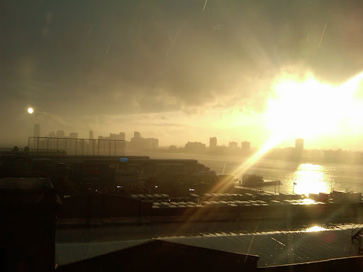 A surreal New Jersey skyline as the rain died down and we finished for the day.