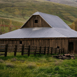 Columbia Gorge April 2014 by Lee Gochenour - Buildings & Architecture Other Exteriors ( oregon, columbia gorge, wooden barn, old barn, western, landscape, rustic )