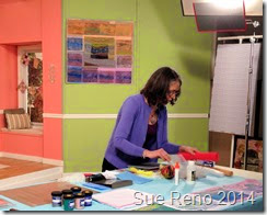 Sue Reno on the set of a Quilting Arts Video Workshop, image 3