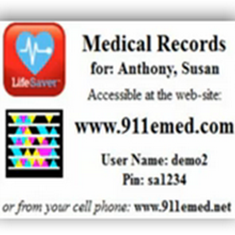 Microsoft Tags (Barcodes) Used with LifeSaver Mobile Application-Paramedics Scan a Printed Card to Access Your Records