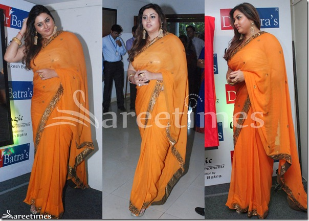 Namitha_Orange_Georgette_Saree
