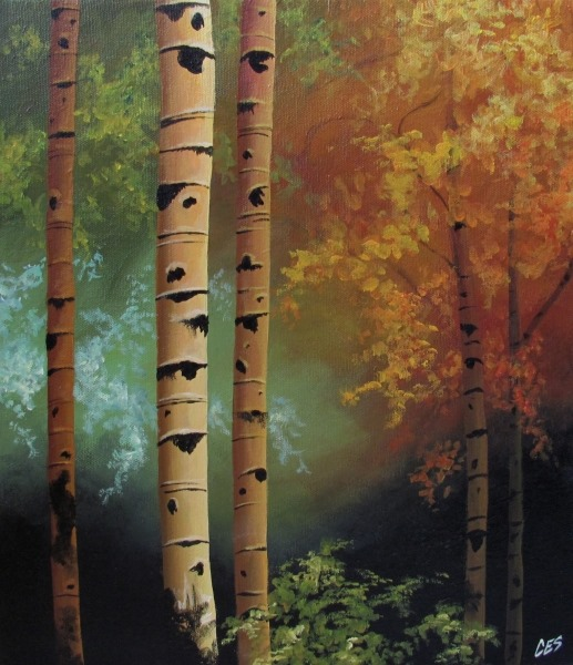 seasons trees painting
