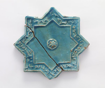 Tile | Origin:  Iran | Period: 12th-13th century? | Details:  Not Available | Type: Stone-paste painted with turquoise glaze | Size: W: 20.1  cm | Museum Code: F1909.104 | Photograph and description taken from Freer and the Sackler (Smithsonian) Museums.