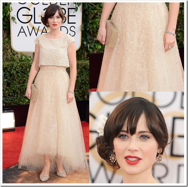 Zooey Deschannel dressed like a Barbie doll for the event