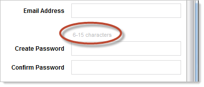 Limit of 15 characters for store password