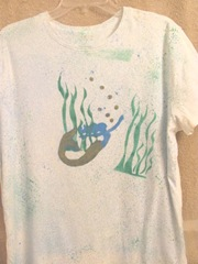 mermaid fabric painted tshirt front1