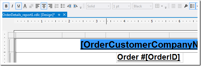 Changing the text properties of the first row.