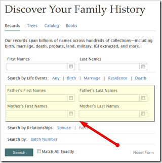 Enter parents names to perform a parent search