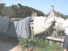 Plimoth Plant mattresses airing out