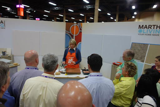 At the Home Depot's Manager's Meeting, Martha demonstrated different techniques for applying texture to painted surfaces.