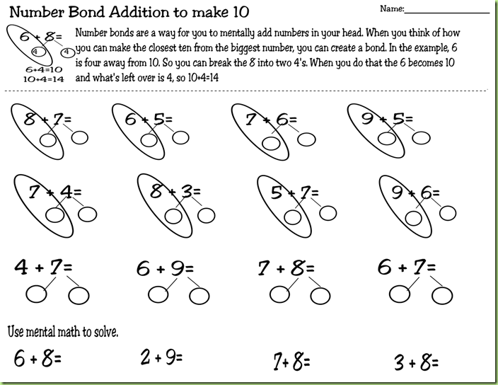 numberbondadditiontomake10 common core problems