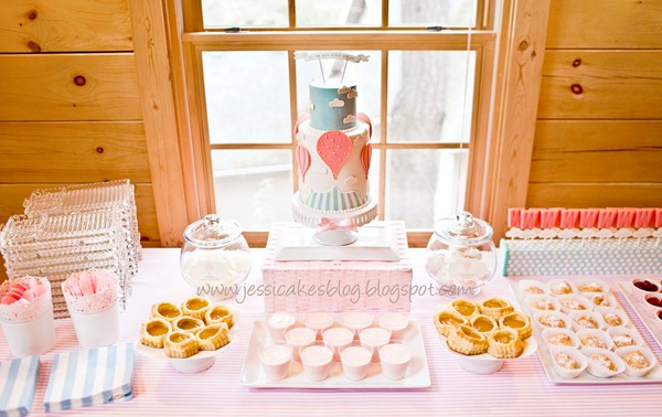 Baby Shower Vintage Hot Air Balloon dessert table
