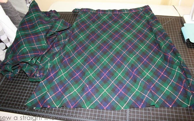 wool plaid skirt refashion sew a straight line-1-2