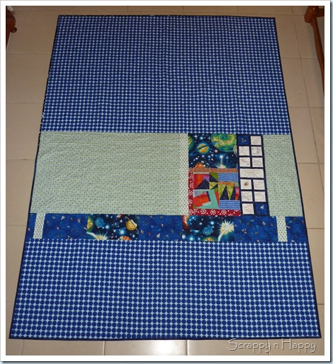 wonky star space quilt back