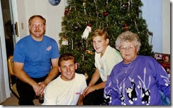 Christmas1989-Ron-Jeff-Scott and Dorothy Hall